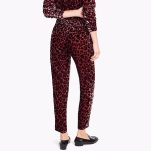 NWOT J. Crew Velvet Rose Leopard Trousers - 10